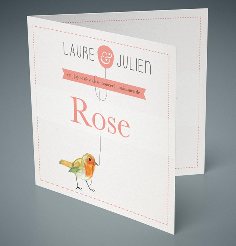 Faire part de naissance - Rose
