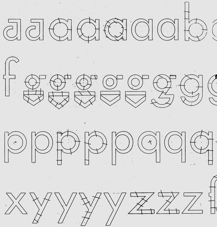 Paul Renner, dessins préparatoires pour la Futura, vers 1925.